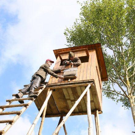 Jäger bringen Fledermauskästen an einer Kanzel an ©Katrin Hartisch